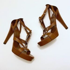 GUCCI Icon Bit Brown Leather Platform Sandal